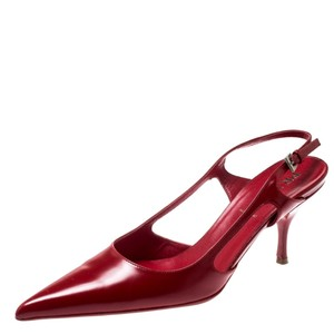 Prada Leather Pointed Toe Slingback Red Sandals
