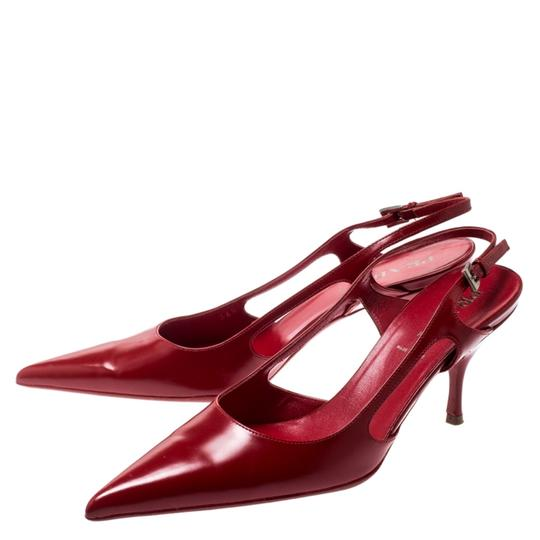 Prada Leather Pointed Toe Slingback Red Sandals Image 5