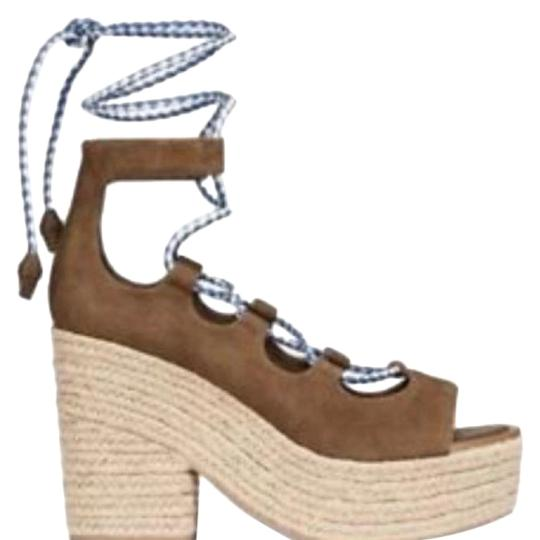Tory Burch Tan w White/Blue straps Wedges Image 0