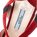 Prada Suede Leather Open Toe Ankle Strap Red Sandals Image 5