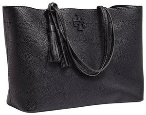 Tory Burch Gucci Saint Laurent Leather Tote in Black
