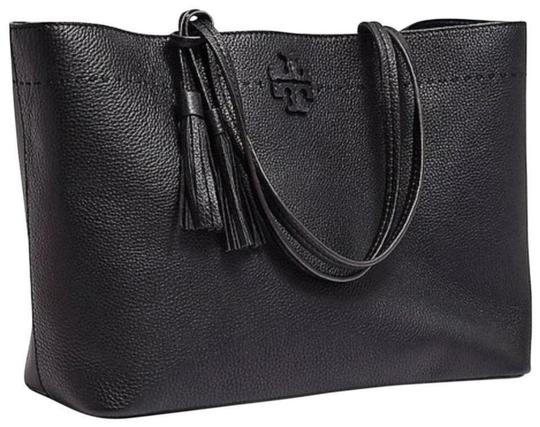 Tory Burch Gucci Saint Laurent Leather Tote in Black Image 10