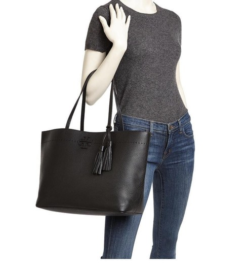 Tory Burch Gucci Saint Laurent Leather Tote in Black Image 11