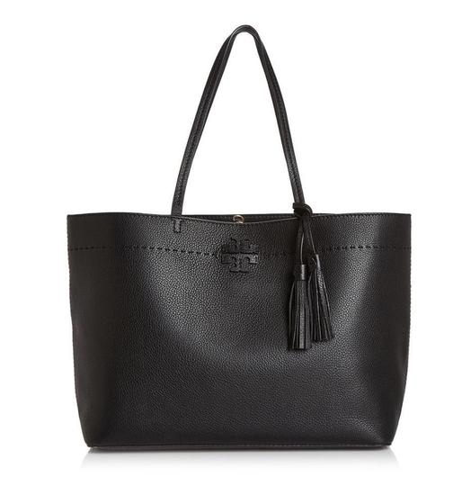 Tory Burch Gucci Saint Laurent Leather Tote in Black Image 2