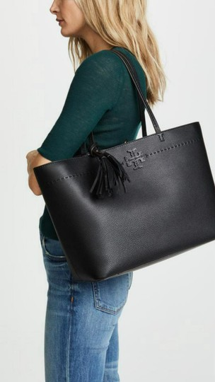 Tory Burch Gucci Saint Laurent Leather Tote in Black Image 3