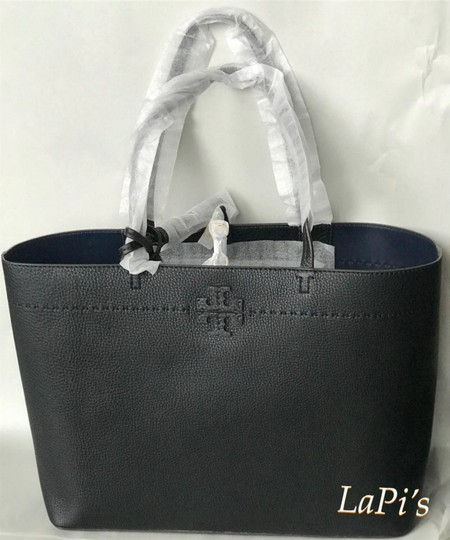 Tory Burch Gucci Saint Laurent Leather Tote in Black Image 6