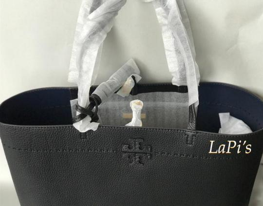 Tory Burch Gucci Saint Laurent Leather Tote in Black Image 7
