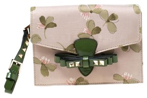 Valentino Floral Print Studded Green Clutch