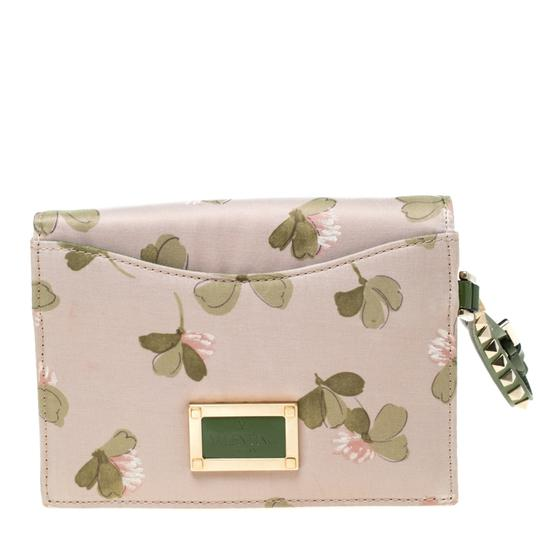 Valentino Floral Print Studded Green Clutch Image 1