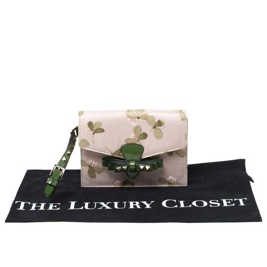 Valentino Floral Print Studded Green Clutch Image 10