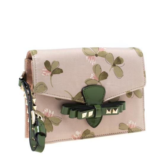 Valentino Floral Print Studded Green Clutch Image 2