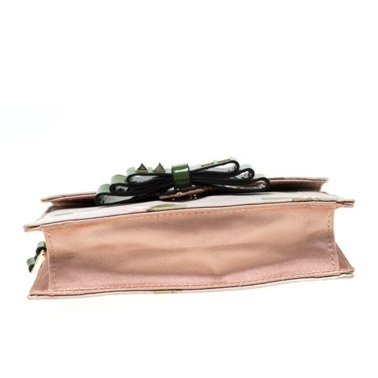 Valentino Floral Print Studded Green Clutch Image 4