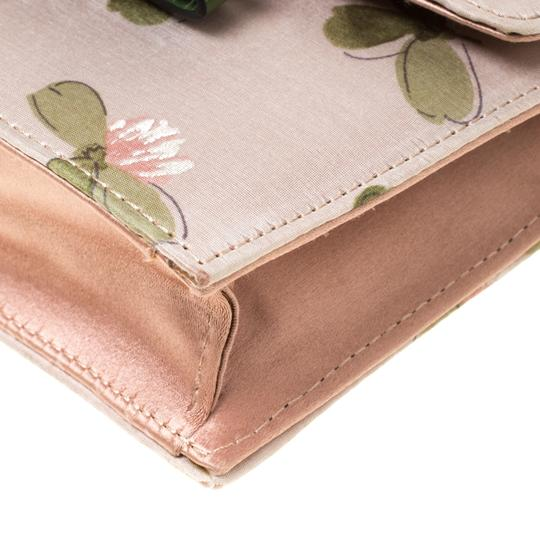 Valentino Floral Print Studded Green Clutch Image 5