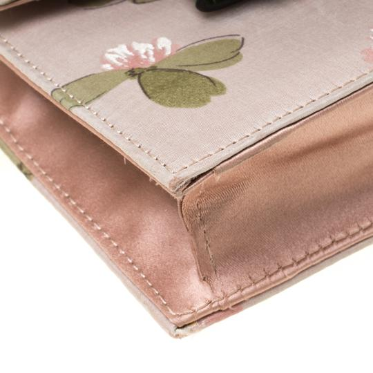 Valentino Floral Print Studded Green Clutch Image 6