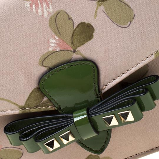 Valentino Floral Print Studded Green Clutch Image 7