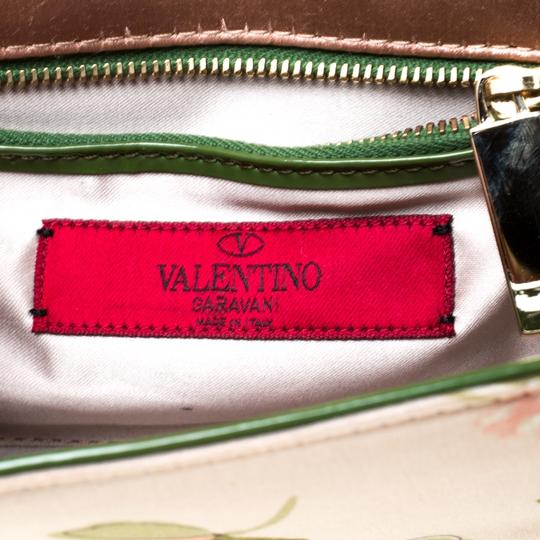 Valentino Floral Print Studded Green Clutch Image 9