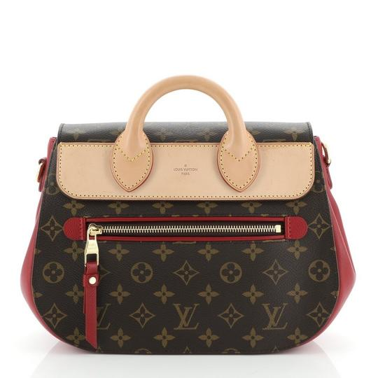 Louis Vuitton Canvas Satchel in Brown, Red Image 3
