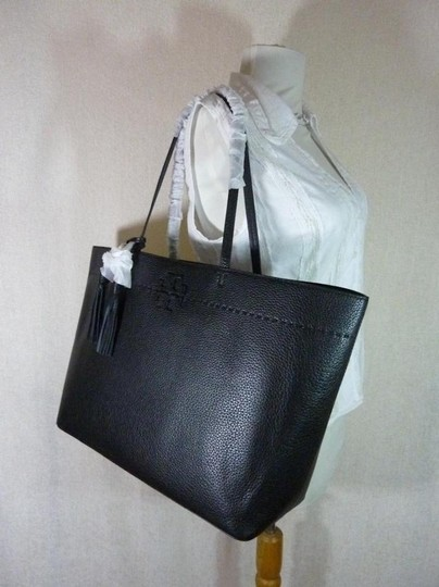Tory Burch Gucci Saint Laurent Leather Tote in Black Image 8