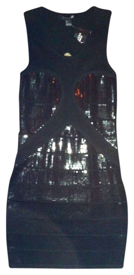 Forever 21 Black Sequin Above Knee Night Out Dress Size 4 S Tradesy