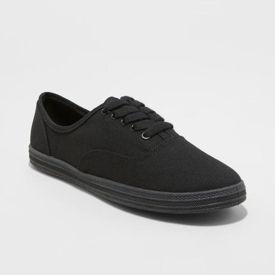 Mossimo Canvas Sneakers Black Flats Image 1