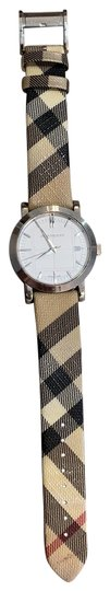 Burberry Silver Haymarket Check Leather Strap Watch BU1390 Image 0