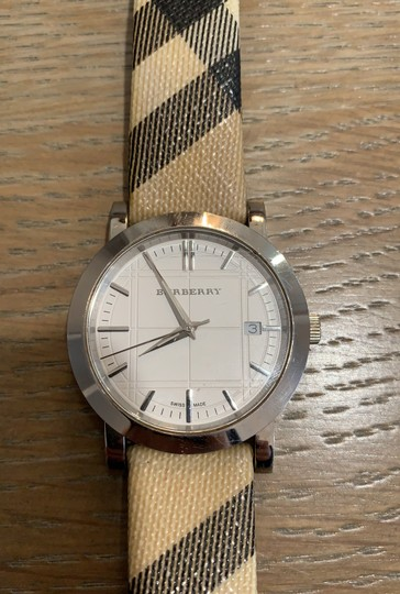 Burberry Silver Haymarket Check Leather Strap Watch BU1390 Image 1