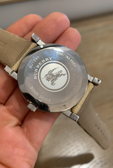 Burberry Silver Haymarket Check Leather Strap Watch BU1390 Image 3