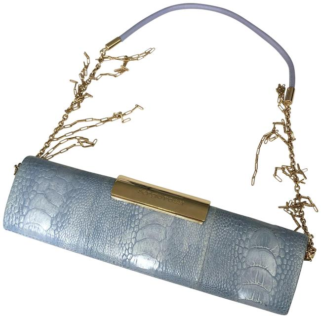 Sergio Rossi Light Blue Leather Clutch Sergio Rossi Light Blue Leather Clutch Image 1