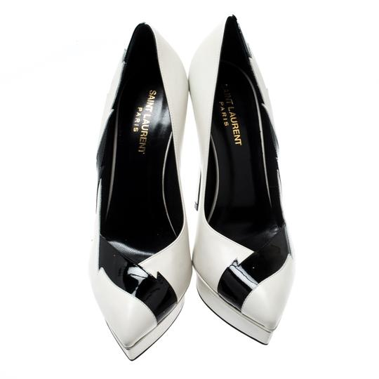 Saint Laurent Monochrome Faux Leather Pointed Toe White Pumps Image 1