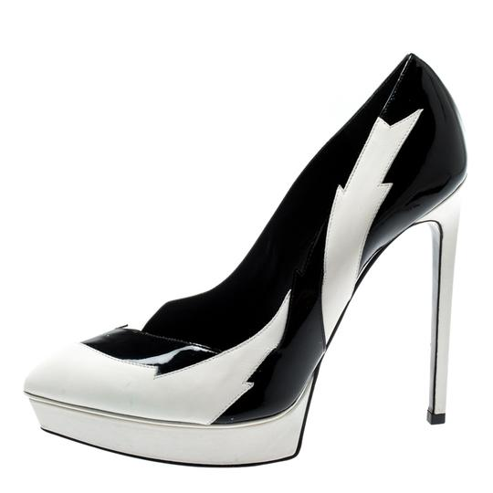 Saint Laurent Monochrome Faux Leather Pointed Toe White Pumps Image 4