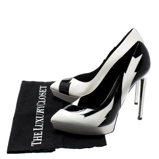 Saint Laurent Monochrome Faux Leather Pointed Toe White Pumps Image 6