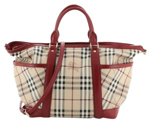 Burberry Canvas Tote in Red