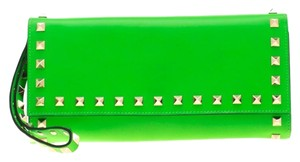 Valentino Neon Green Leather Rockstud Trifold Wallet