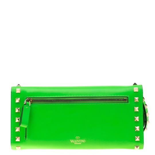Valentino Neon Green Leather Rockstud Trifold Wallet Image 1