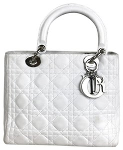 Christian Dior Quilted Cannage Leather Tote in White