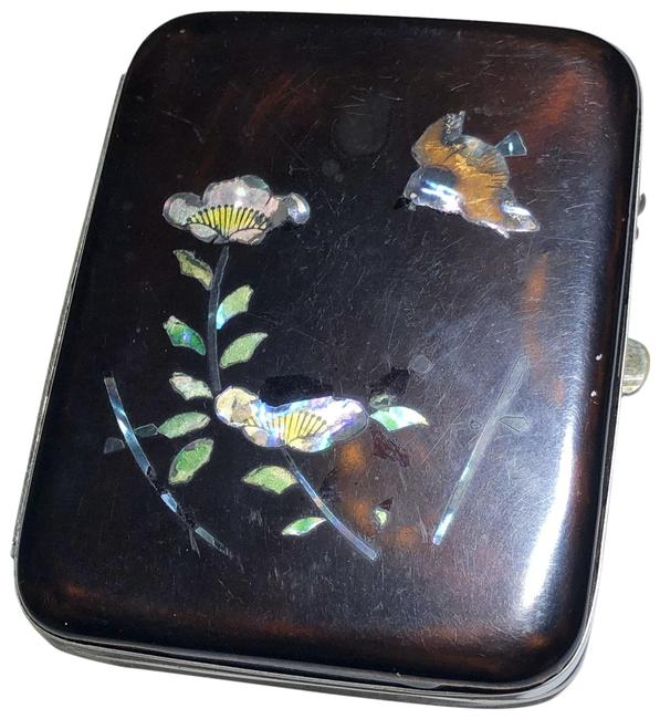 Item - Brown Cigarette Case Abalone Mother Of Pearl Plastic