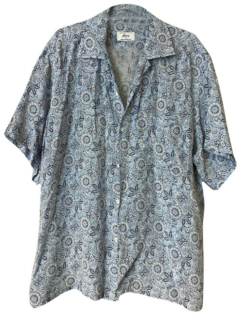 Item - Blue L For Neiman Marcus Made In Italy Printed Men's Shirt Button-down Top Size 12 (L)