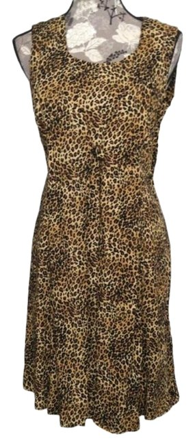 Item - Leopard Print Sz14 Cheetah Rayon Sleeveless Short Casual Dress Size 14 (L)