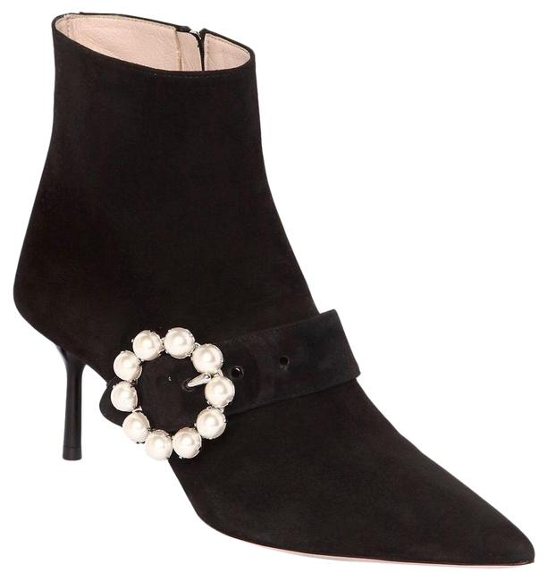 Item - Black Faux Pearl Buckle Suede Boots/Booties Size EU 40 (Approx. US 10) Regular (M, B)