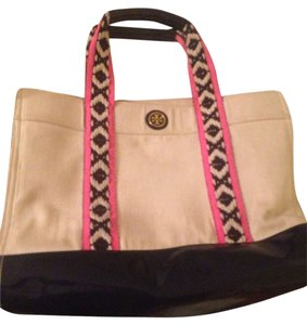 Tory Burch Tote in Pink Blue & Cream