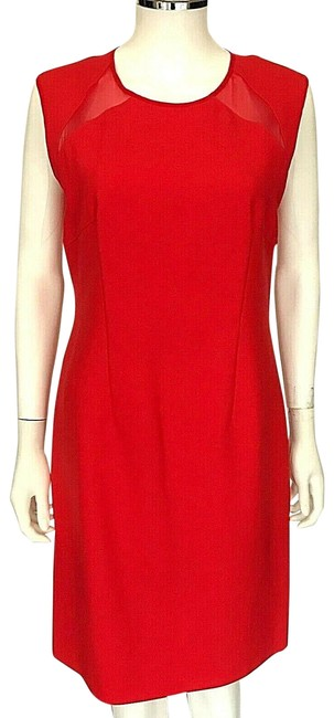 Item - Red Sleeveless Sheer Triangle Panels Short Night Out Dress Size 6 (S)