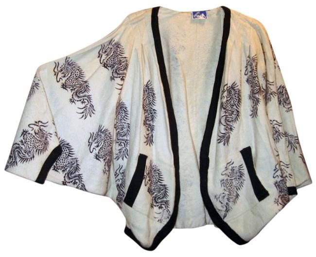 CHEPPU Ethnic Bohemian Artsy Ivory and black Jacket
