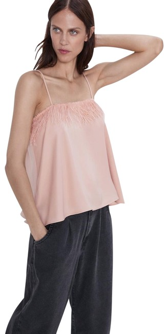Item - Beige Pink Feather Detail Tank Top/Cami Size 8 (M)