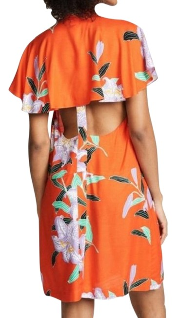 Item - Clementine Orange/Green/Purple Argos Open Back Floral Cover Mid-length Short Casual Dress Size 0 (XS)