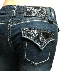 Rock and Roll Cowgirl Bling Sparkle Flap Pockets Western Boot Cut Jeans-Dark Rinse