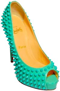 """Christian Louboutin 5 """" Heel Yolanda Red Leather Sole 1/2 Inch Platform Patent Leather Acrylic Spikes. Turquoise Formal"""