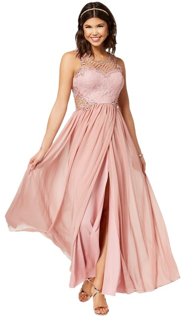 Item - Misty Pink Juniors' Embellished Illusion Tulip Gown Long Formal Dress Size 2 (XS)
