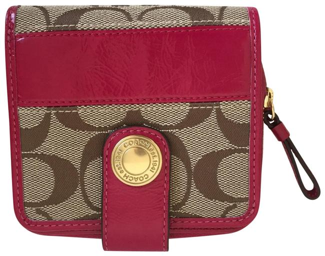 Item - Magenta/ Khaki Signature Cc Logo Zip Around Wallet