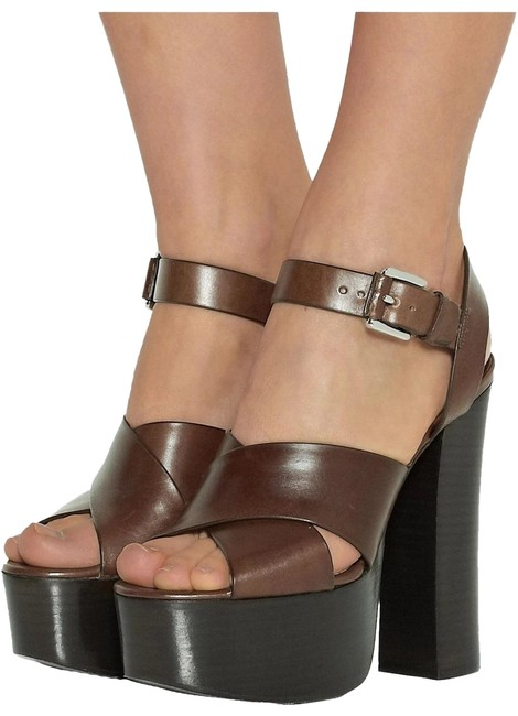 Michael Kors Collection Nutmeg/Brown Crista Runway Leather Sandal Platforms Size US 9 Regular (M, B) Michael Kors Collection Nutmeg/Brown Crista Runway Leather Sandal Platforms Size US 9 Regular (M, B) Image 1