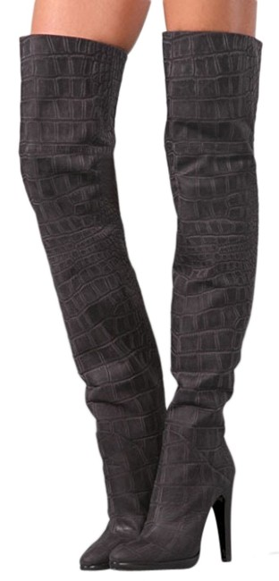 Item - Gray Croc Embossed Thigh High Boots/Booties Size US 7 Regular (M, B)